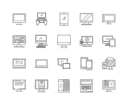Computer repairs line icons, linear signs, vector set, outline concept illustration Иллюстрация