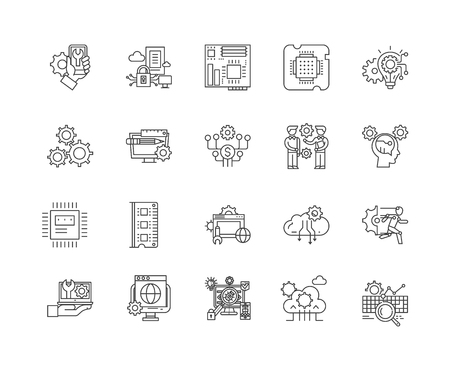 Computer repairs concept line icons, linear signs, vector set, outline concept illustration