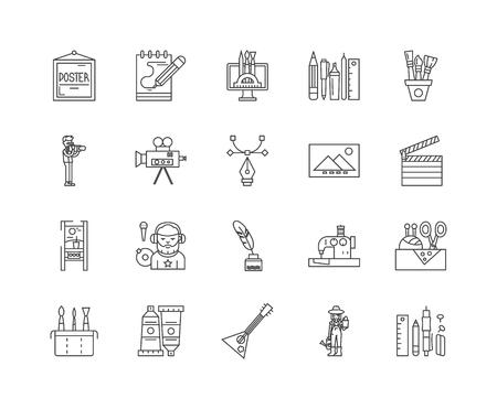 Creatività icone della linea, segni lineari, set di vettori, illustrazione del concetto di contorno