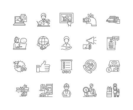 Icônes de ligne de service client, signes linéaires, ensemble de vecteurs, illustration de concept de contour Vecteurs