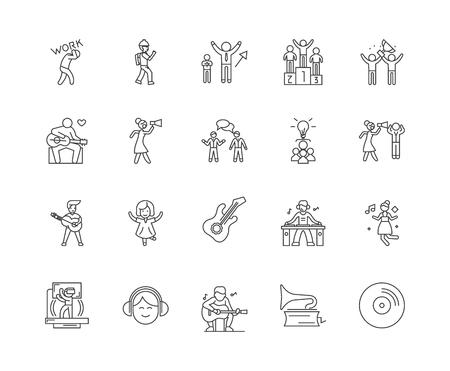 Dance schools concept line icons, linear signs, vector set, outline concept illustration