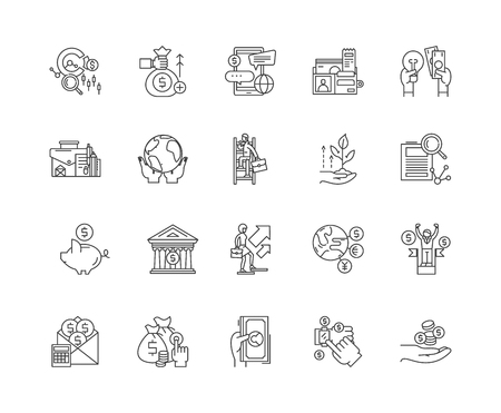 Commodity broker line icons, linear signs, vector set, outline concept illustration