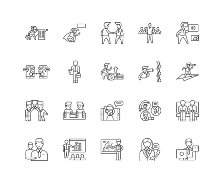 Commodity brokerage service line icons, linear signs, vector set, outline concept illustration Illusztráció
