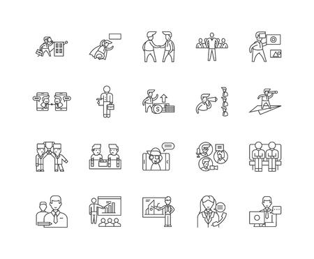Commodity brokerage service line icons, linear signs, vector set, outline concept illustration Illustration