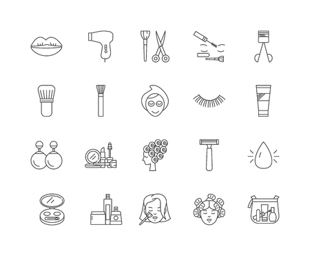 Cosmetologist line icons, linear signs, vector set, outline concept illustration 向量圖像