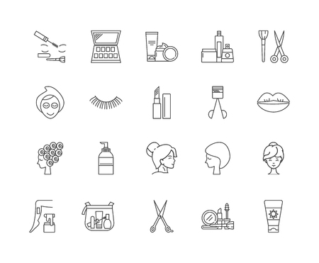 Cosmetology line icons, linear signs, vector set, outline concept illustration  イラスト・ベクター素材