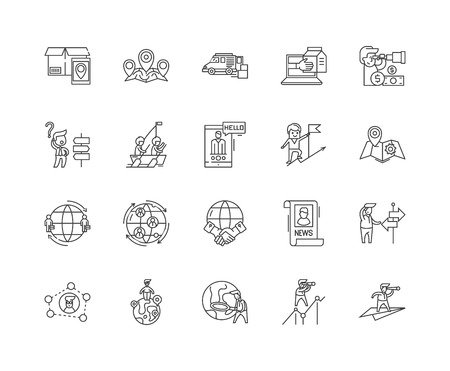 Customer journey line icons, linear signs, vector set, outline concept illustration