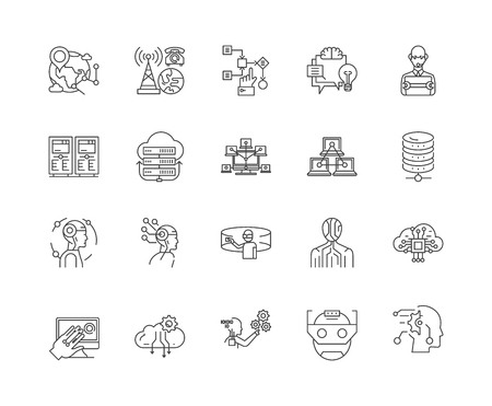 Data science line icons, linear signs, vector set, outline concept illustration Stock Illustratie