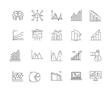 Data analytics line icons, linear signs, vector set, outline concept illustration Ilustração