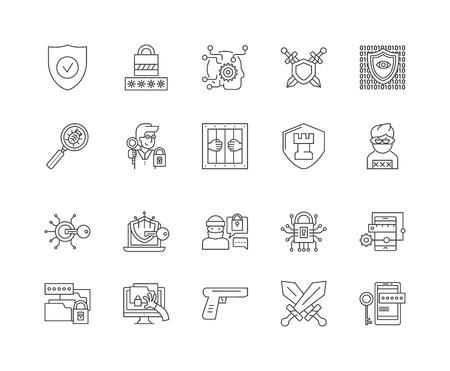 Defence line icons, linear signs, vector set, outline concept illustration
