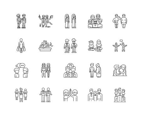 Comparison line icons, linear signs, vector set, outline concept illustration Illustration