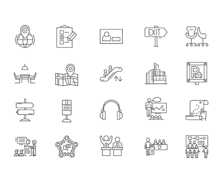 Conference venue line icons, linear signs, vector set, outline concept illustration