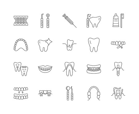 Dental line icons, linear signs, vector set, outline concept illustration Illustration