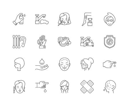 Iconos de línea de dermatología, signos lineales, conjunto de vectores, ilustración del concepto de esquema