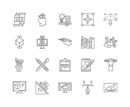 Designing line icons, linear signs, vector set, outline concept illustration