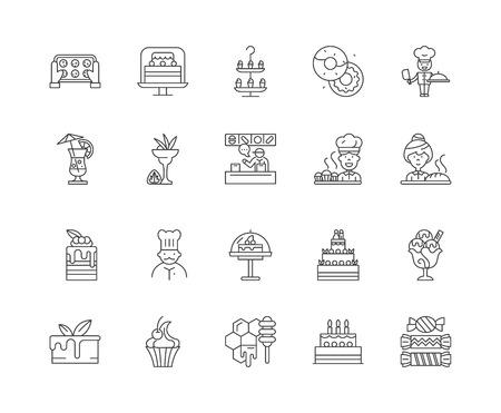 Desserts shop line icons, linear signs, vector set, outline concept illustration