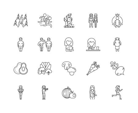 Diet line icons, linear signs, vector set, outline concept illustration