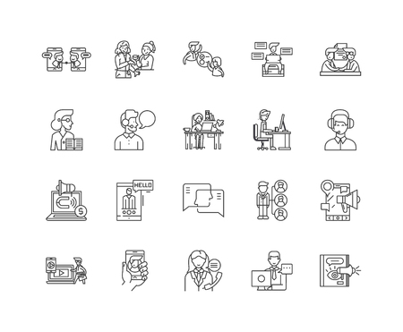 Diversity consultant line icons, linear signs, vector set, outline concept illustration
