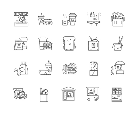 Eating out line icons, linear signs, vector set, outline concept illustration