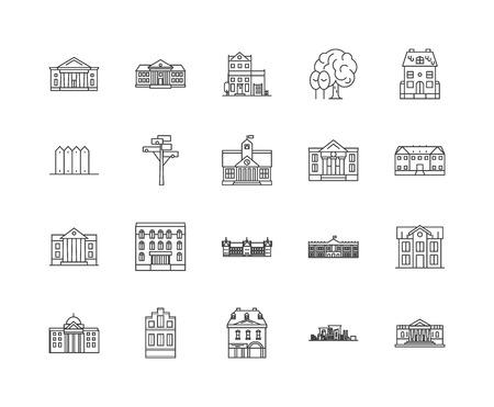 Icone della linea delle ambasciate, segni lineari, set di vettori, illustrazione del concetto di contorno Vettoriali