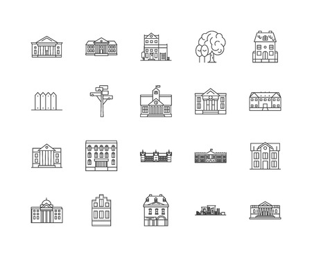 Iconos de línea de embajadas, signos lineales, conjunto de vectores, ilustración del concepto de esquema Ilustración de vector