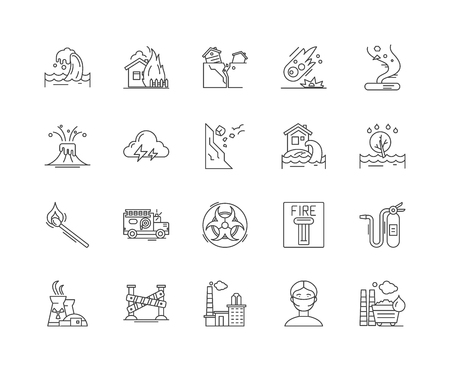 Emergincies and disasters line icons, linear signs, vector set, outline concept illustration Illustration