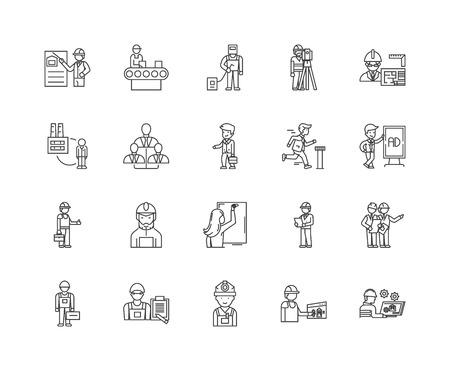 Employment line icons, linear signs, vector set, outline concept illustration Illustration
