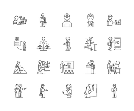 Employment agency line icons, linear signs, vector set, outline concept illustration