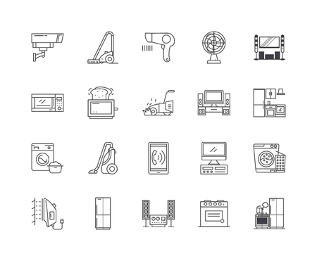 Electronics line icons, linear signs, vector set, outline concept illustration