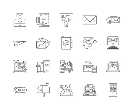 Emails and mails line icons, linear signs, vector set, outline concept illustration