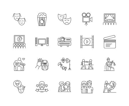 Drama line icons, linear signs, vector set, outline concept illustration