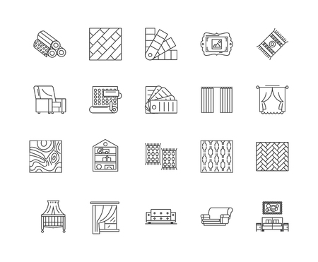 Drapery window line icons, linear signs, vector set, outline concept illustration