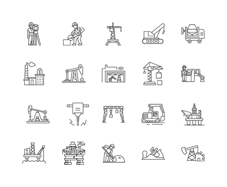Drilling oil line icons, linear signs, vector set, outline concept illustration
