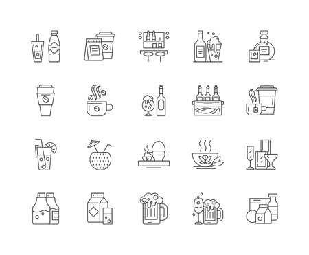 Drinking line icons, linear signs, vector set, outline concept illustration