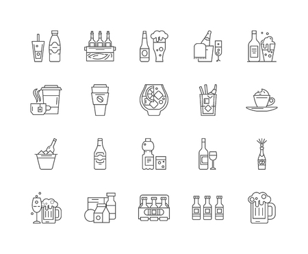 Drinks line icons, linear signs, vector set, outline concept illustration