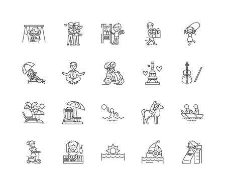Enjoyment line icons, linear signs, vector set, outline concept illustration Banco de Imagens - 122420032