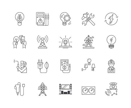 Icone della linea di servizi elettrici, segni lineari, set di vettori, illustrazione del concetto di contorno