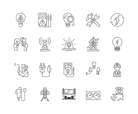 Electric services line icons, linear signs, vector set, outline concept illustration