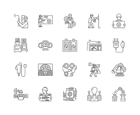 Elektrische Industriegeräte-Liniensymbole, lineare Zeichen, Vektorsatz, Umrisskonzeptillustration