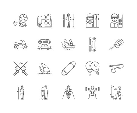 Equipment rental services line icons, linear signs, vector set, outline concept illustration