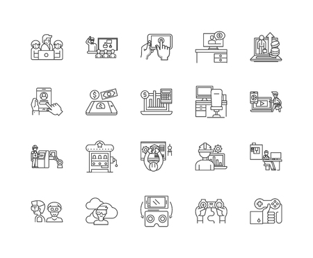 Ergonomics line icons, signs, vector set, outline illustration concept