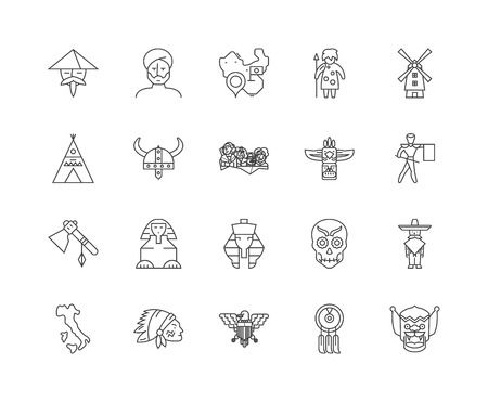 Ethnology line icons, linear signs, vector set, outline concept illustration