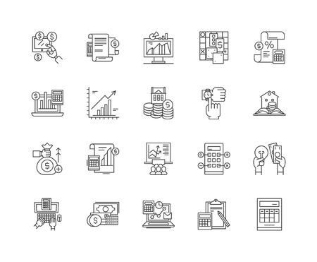 Ikony linii oceny, znaki liniowe, zestaw wektorów, ilustracja koncepcji konspektu