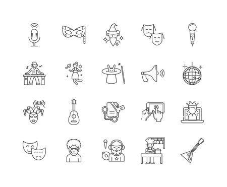 Entertaiment agencies line icons, linear signs, vector set, outline concept illustration