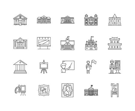 Exhibition centre line icons, linear signs, vector set, outline concept illustration