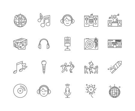 Disk jockey line icons, linear signs, vector set, outline concept illustration