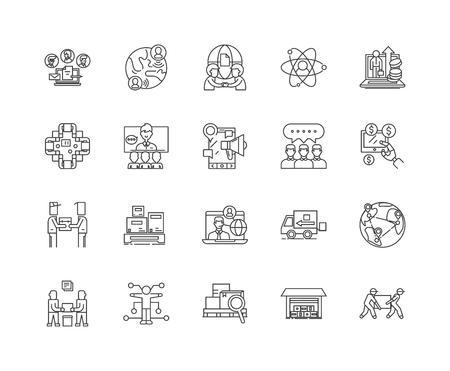 Distribution center line icons, linear signs, vector set, outline concept illustration Illustration