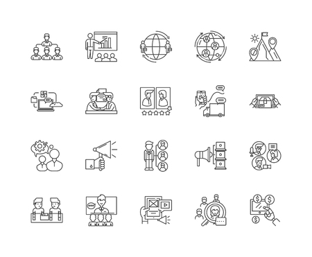 Distributor line icons, linear signs, vector set, outline concept illustration Stock Vector - 122419393