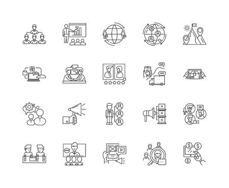 Icone della linea di distribuzione, segni lineari, set di vettori, illustrazione del concetto di contorno