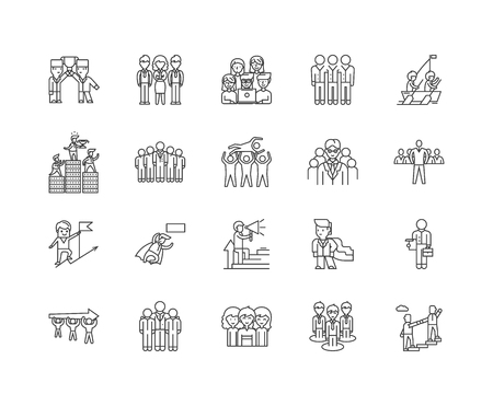 Executors line icons, linear signs, vector set, outline concept illustration